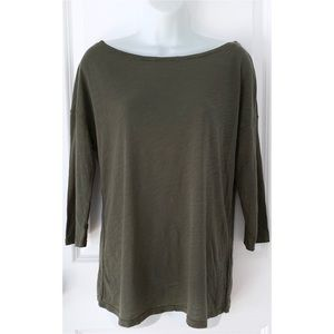 Three Dots Olive Green 3/4 Sleeve Burnout Tee